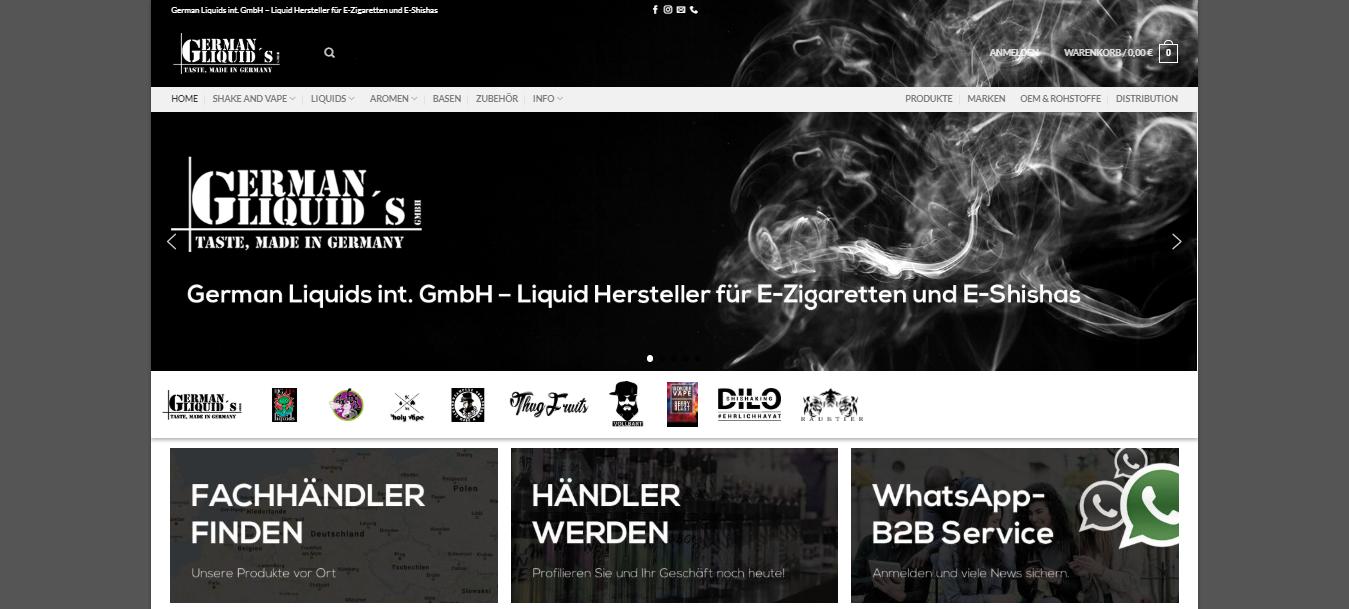 German Liquids Liquid Hersteller Distributor Groß und Einzelhandelspartner